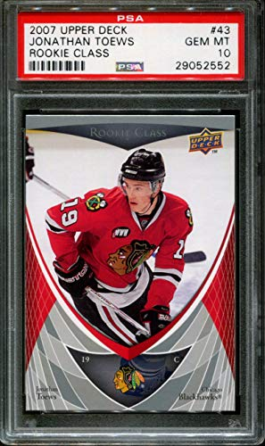 Upper Deck Rookie Class Card - 2007 UPPER DECK ROOKIE CLASS #43 JONATHAN TOEWS RC PSA 10 H2087381-981