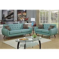 2Pcs Modern Laguna Polyfiber Linen-Like Fabric Sofa Loveseat Set with Accent Tufting on the Low Back Support and Plush Seating
