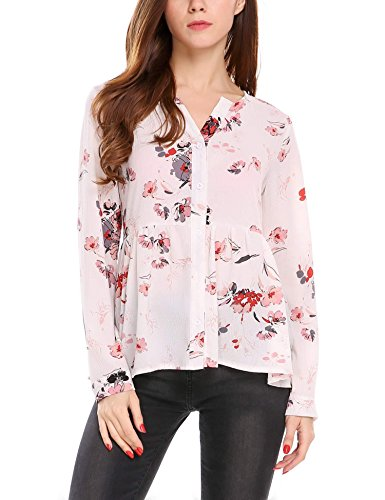 Zeagoo Womens Floral Sleeve Button