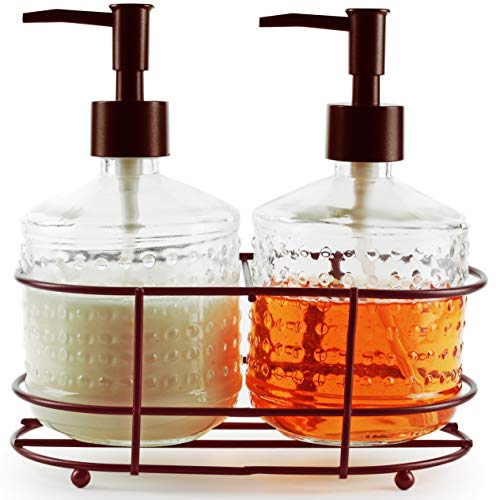 Circleware 32473 Vintage Hobnail Bronze Dispenser Bottle Pumps in Metal Caddy 3-Piece Set of Home Bathroom Accessories, Farmhouse Decor for Essential Oils, Lotions, Liquid Soaps 17.5 oz Clear