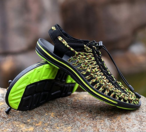 気まぐれな治世オフェンスメンズラージサイズ手作りの穴の靴滑り止めのパーソナリティは、Baotouビーチの靴を通気通気性のサンダルアウトドアクライミングシューズZHANGM