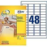 Avery 1200 Etiquettes Autocollantes Amovibles (48 par feuille) - 45,7x21,2mm - Impression Laser, Jet d'Encre - Blanc (L4736REV)