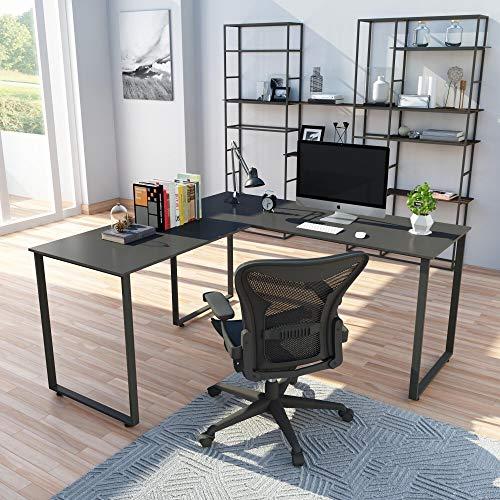 Merax L-Shaped Workstation Computer Corner Home Office Wood Laptop Table Study Desk (Black)