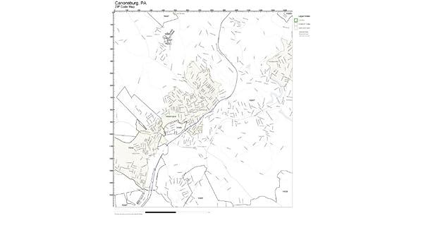 Amazon Com Zip Code Wall Map Of Canonsburg Pa Zip Code Map Not