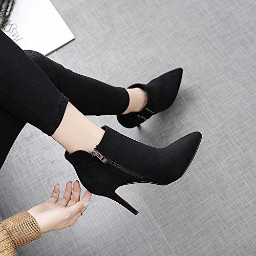KPHY-Sexy High-Heeled Stiefel Winter neue Spitze Satin seitlichen Reißverschluss-fein Reißverschluss-fein Reißverschluss-fein mit weiblichen Stiefel und blanken Stiefel schwarz 4baab7