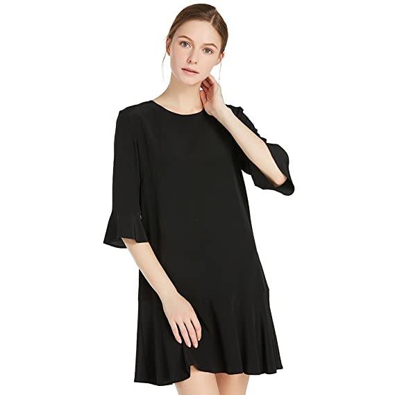 LILYSILK Women\'s Silk Dress with Peplum Short Half Sleeve Ladies ...