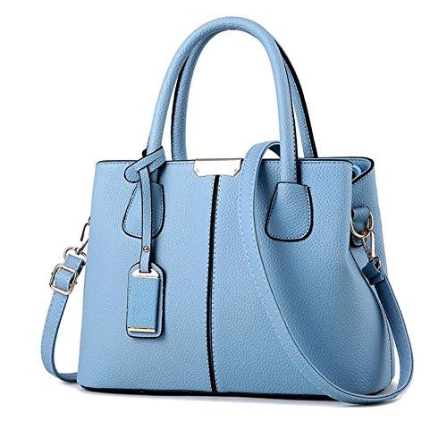 AASSDDFF Vogue Star PU Top Handbags Mujeres Bolso Solid Ladies Lether Hombro Casual Casual Big Capacity Tote Crossbody Bolsas LB24, Rosa Cielo azul