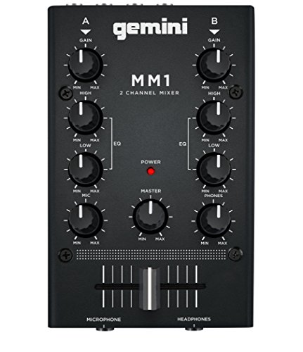 Gemini MM1 Professional Audio 2-Channel Stereo 2-Band Rotary Compact DJ Mixer with Cross-Fader and Individual Gain Control