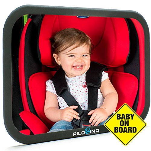 Baby Car Seat Mirror by Pilotino - Mirror For Car Seat Rear Facing - Child Safety Mirror - Crash Tested and Certified for Safety - Baby On Board Sign with Suction Cup