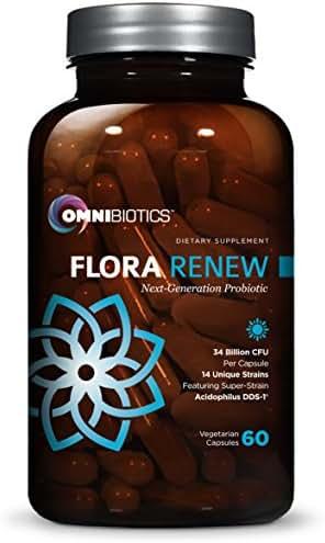 Flora Renew Probiotics - 34 Billion CFU, 14 Unique Strains + Acidophilus DDS-1, 1 Best Probiotic Supplement Perfect for Men, Women, Kids Digestive Health