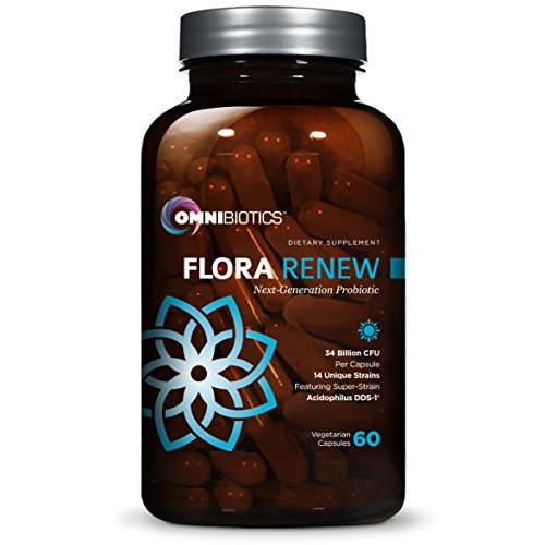 Flora Renew Probiotics - 34 Billion CFU, 14 Unique Strains + Acidophilus DDS-1, 1 Best Probiotic Supplement Perfect for Men, Women, Kids Digestive Health