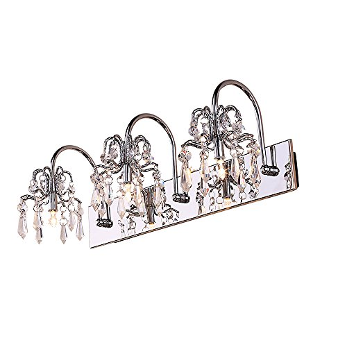 Modern G2 Halogen Lamp Clear Crystals and Stainless Steel Bath Vanity Light Wall Light in Chrome (3-light)