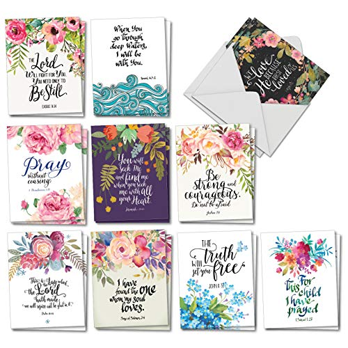 Holy Sentiments: 20 Assorted All Occasions Greeting Cards (Mini 4 x 5.125 inch) Featuring Inspirational Bible Verses Combined with Beautiful Floral Images, with Envelopes. AM2380OCB-B2x10