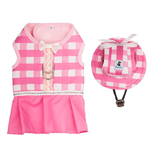 Pink Velvet Princess Costumes (Pawaboo Pet Costume and Cap, Cute Comfortable Breathable Cotton Pet Dog Puppy Cat Princess Costume Vest Clothes Outfit with Adjustable Cap Hat, Easy on and off, Small Size, Pink and)