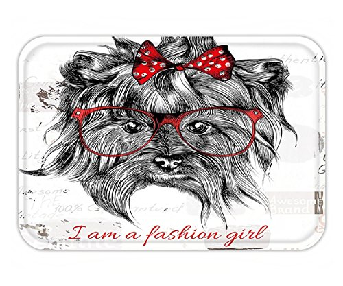 Minicoso Doormat Animal I am a Fashion Girl Quote Sketch Cute Hipster Dog with Sunglasses and Red Bow Red Black - Of Versace Sunglasses Pictures