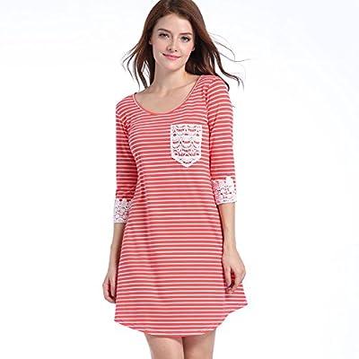 Ebizza Women Lace Stripe Cotton Patchwork 3/4 Sleeve Pocket Loose T-shirt Dress