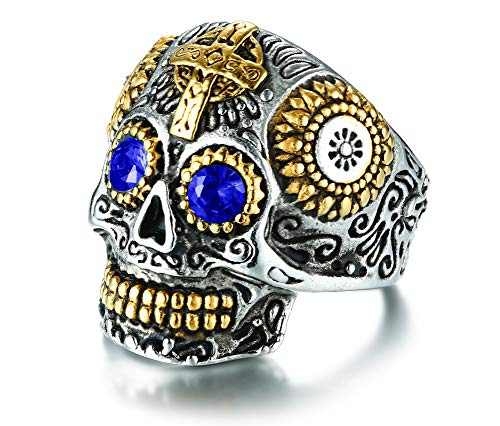 (Rinspyre Men's Halloween Stainless Steel Day The Dead Gothic Cross Sugar Skull Ring Vintage Flower Sapphire Blue Eye Size)