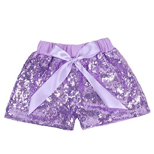 - Baby Girls Shorts Kids Sparkle Toddler Sequin Shorts Glitter on Both Sides Birthday Outfits Lavender 5T