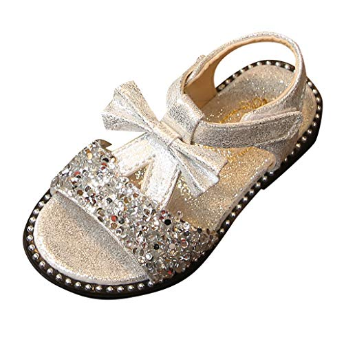 Mary Jane Sandals Baby Girls Summer Bling Sequins Ballet Flats Princess Dress Shoes with Bowknot for Toddler Kids Girls Silver