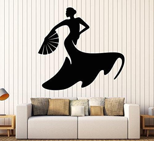 DesignToRefine Vinyl Wall Decal Flamenco Dance Dancer Spanish Woman Passion Stickers Large Decor (966ig) Black