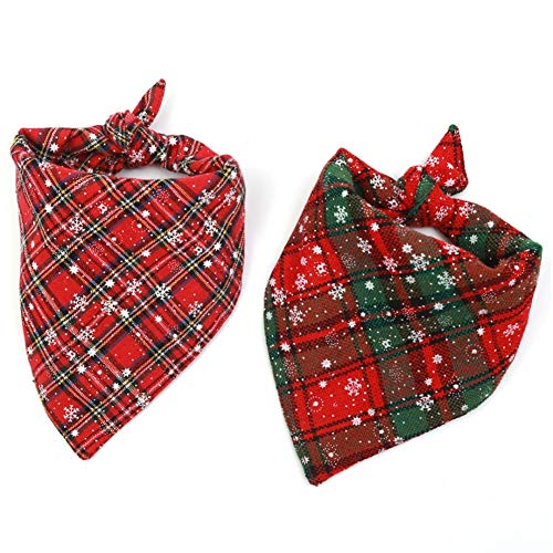 Stock Show 2Pack Pet Plaid Bandanas Dog Cat Cute Fashion Xmas Snowflakes Double Layer Cotton Triangle Bibs Scarves for Small Medium Large Dogs Breeds Cats (Suits for Neck Girth: 20-30CM/7.9-11.8