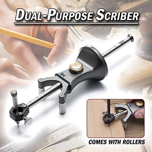 (CapsA Wood Scribe Tool Wheel Marking Gauge 180 MM Sliding Mark Scraper Adjustable Precision Linear Arc Dual-Purpose Scriber (A))