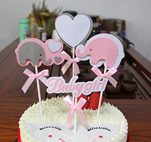 PureArte Cute Baby Shower Cake Topper For Baby Girl Party Favors Decoration Pink White Elephant and Heart with Bow -