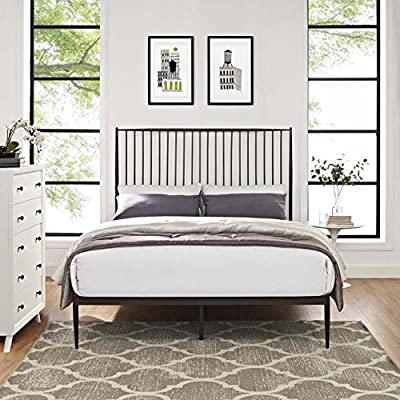 Modway Annika Powder-Coated Steel Queen Size Platform Bed in Brown - Farmhouse Style Metal Platform Bed Sturdy Powder Coated Steel Frame Integrated Headboard - bedroom-furniture, bed-frames, bedroom - 51cm2aAFcPL. SS400  -