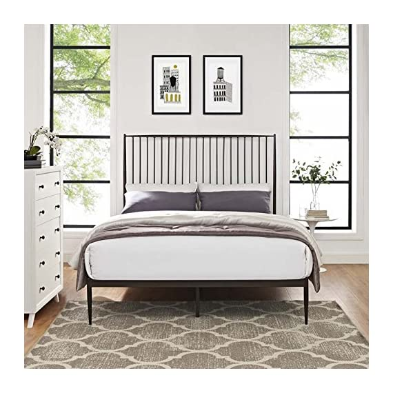 Modway Annika Powder-Coated Steel Queen Size Platform Bed in Brown - Farmhouse Style Metal Platform Bed Sturdy Powder Coated Steel Frame Integrated Headboard - bedroom-furniture, bedroom, bed-frames - 51cm2aAFcPL. SS570  -