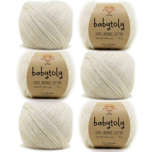 6 Skein 100% Organic Cotton GOTS Certified Knitting Yarn Each 1.76 Oz (50g) / 115 Yrds (105m) Super Soft, Pure Natural Eco Baby Yarn, Organic Cotton Yarn, DK Medium Worsted, Snow 004 ()