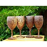 Set 4 Handmade Wooden Wine Glass Glasses (Palm Wood) - A
