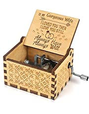Music Box Hand Crank Engraved Musical Box-You are My Sunshine Mechanism Antique Vintage Personalizable Gift for Birthday Party/Valentines Day/Thanksgiving/Christmas