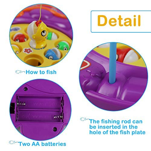 15 Pieces Musical Fishing Board Game Funny Dolphin Shape Fishing Toy Set Great Gift for Children above 3 Years Old, Color Random