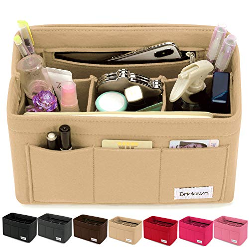 bridawn Felt Handbag Organizer Purse Bag Neverfull Tote Insert 3MM Thickness, Medium, Beige