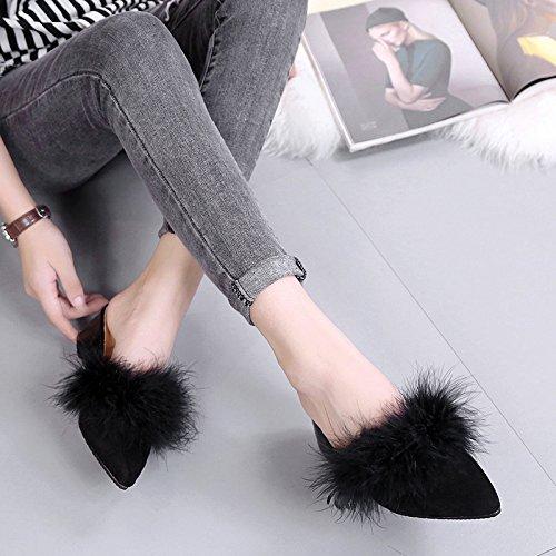 coton Black Anti Cachemire Slip LaxBa Ladies' Chaussons Chambre tricoté Agtw6