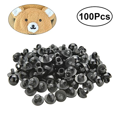 OUNONA 100pcs Black Safety Eyes Resin Craft Eyes and Safety Noses Doll Puppet Plush Animal Making