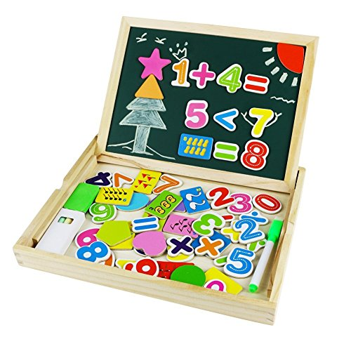 jerryvon Wooden Toys Magnetic Numbers Double Side Drawing ...