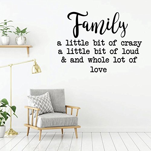 Family Saying Wall Decor - A Little Bit Of Crazy - Vinyl Art Lettering Decals for Living Room, Kitchen, Bedroom or Office