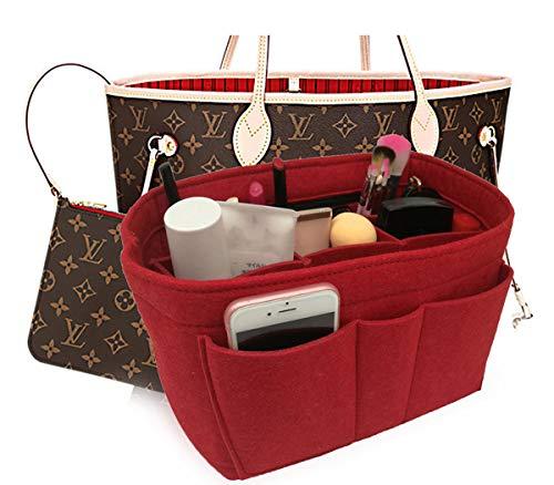 Felt Insert Bag Organizer Bag In Bag For Handbag Purse Organizer Fits Speedy Neverfull RED MEDIUM (Bags Organizer)