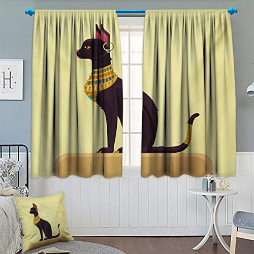 Egypt,Blackout Curtain,Antique Ancient Times Mystical Cartoon Style Cat with Earring Image,Waterproof Window Curtain,Pale Yellow Mustard Plum,W63 x L72 inch