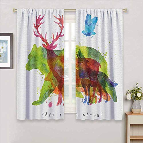 GUUVOR Animal Decor All Season Insulation Alaska Animals Bears Wolfs Eagles Deers in Abstract Colored Shadow Like Print Noise Reduction Curtain Panel Living Room W54 x L84 Inch Multicolor