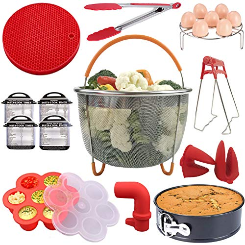 Handua 14 Pcs Accessories Set Compatible with 5,6,8 Instant Pot, Steamer Basket, Spring Form Pan, Egg Rack, Bites Mold, Silicone Mat, Oven Mitts, Kitchen Tongs, Plate Clip, Cheat Sheet Magnets