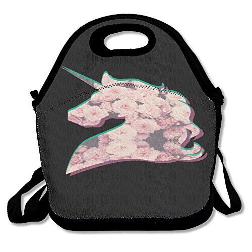 Unicorn Horse Fashionable Insulated Heating Polyester Backpack Women Men Kids Adult Black Lunch Bag Tote Food Storage Carrying Case For Outdoor Office