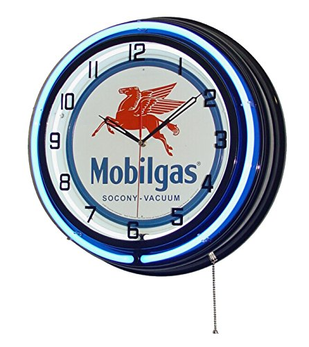 Mobilgas Flying Pegsus 18  Double Neon Light Clock Blue Black