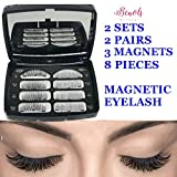 Benols Beauty Pack of 8pcs, 2 Pairs, 2 Style Magnetic False Eyelashes, Dual Fake Lashes with Free Tweezers Ultra Thin 3 Magnets, 3D Premium Fiber Reusable Extension for Natural Look