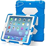 Water Proof IPAD 5 Air Cover Case Military Shock Proof Slim Fit with Back Cover Standing Blue White
