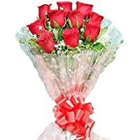 Floralbay Valentine's Day Specail Fresh Flowers Red Rose Bunch in Cellophane Packing (Bunch of 10)