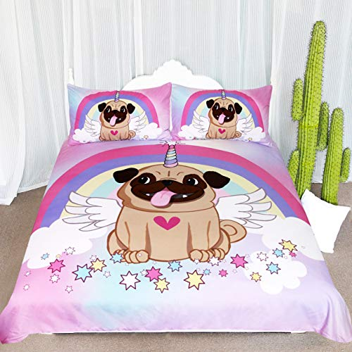 ARIGHTEX Unicorn Pug Bedding Unicorn Bedding Twin for Girls 3 Piece Cute Puppy Dog Duvet Cover Rainbow Stars Cartoon Bedspread ()