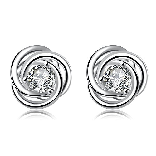 (Classical Twisted Love Knot Silver Plated Copper Cubic Zirconia Stud Earrings for Women Girl)