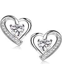 925 Sterling Silver Earrings Blue Cubic Zirconia Heart Shaped Stud Earrings For Women